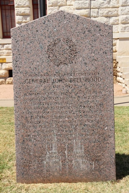 County Named for Famous Confederate General John Bell Hood Marker image. Click for full size.
