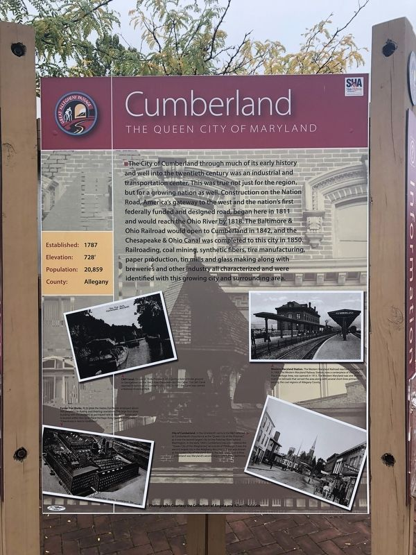 Cumberland, The Queen City of Maryland side of marker image. Click for full size.