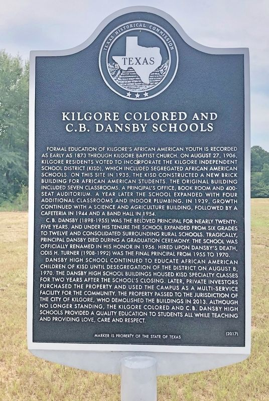 Kilgore Colored and C. B. Dansby Schools Marker image. Click for full size.