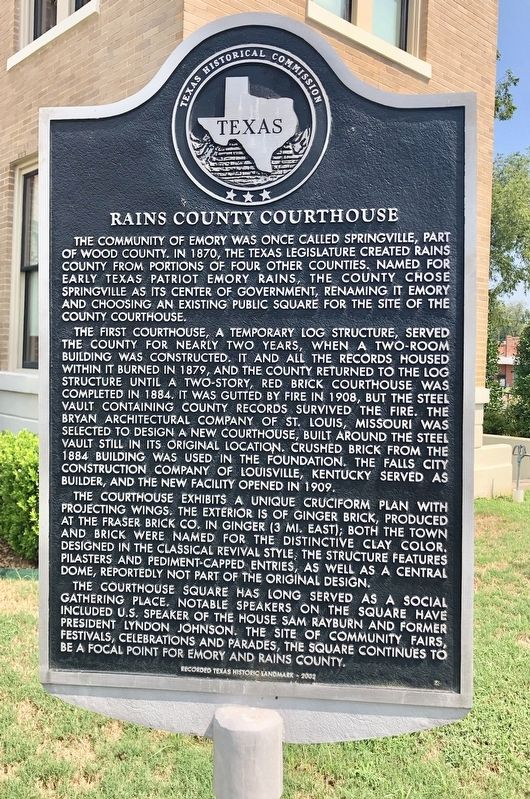 Rains County Courthouse Marker image. Click for full size.