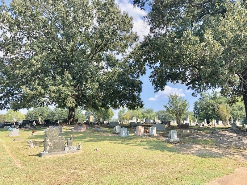 View of other graves in the cemetery looking easterly. image. Click for full size.