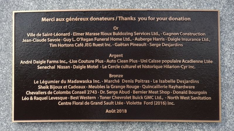 Clarence Bourgoin Monument Sponsor Plaque image. Click for full size.
