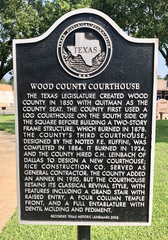 Wood County Courthouse Marker image. Click for full size.