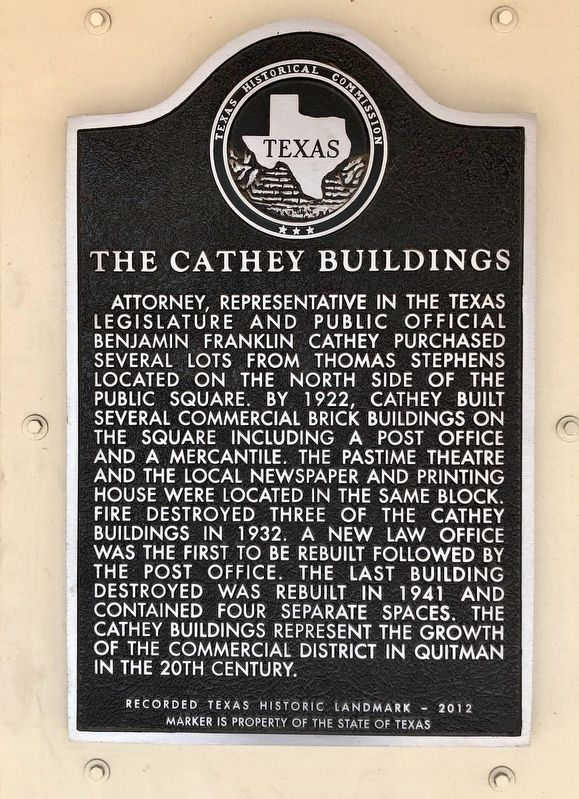 The Cathey Buildings Marker image. Click for full size.