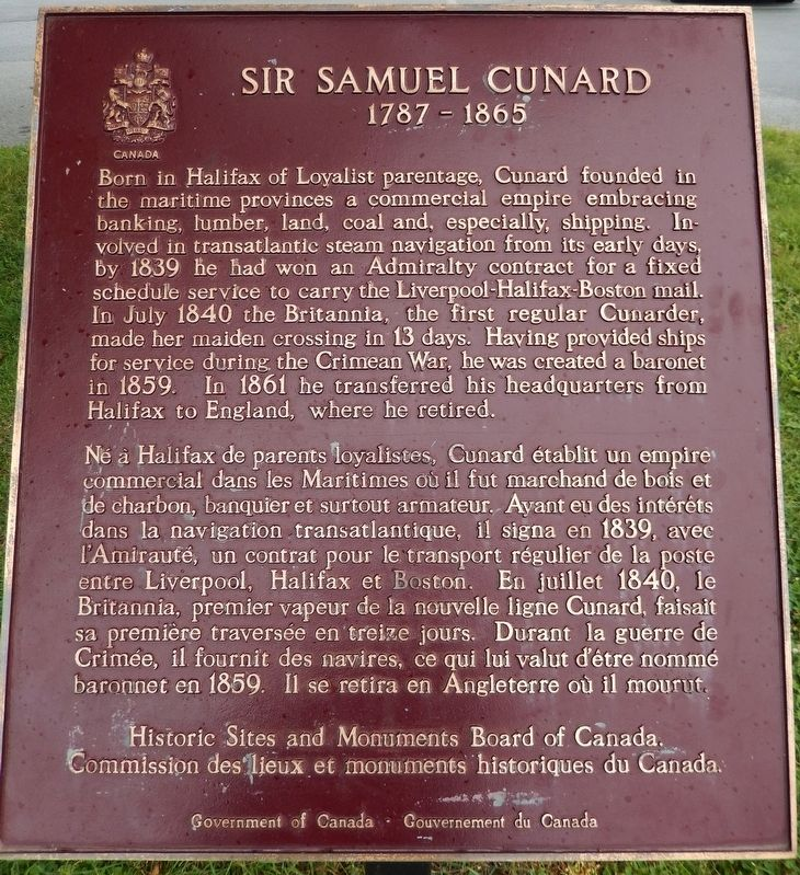 Sir Samuel Cunard Marker image. Click for full size.