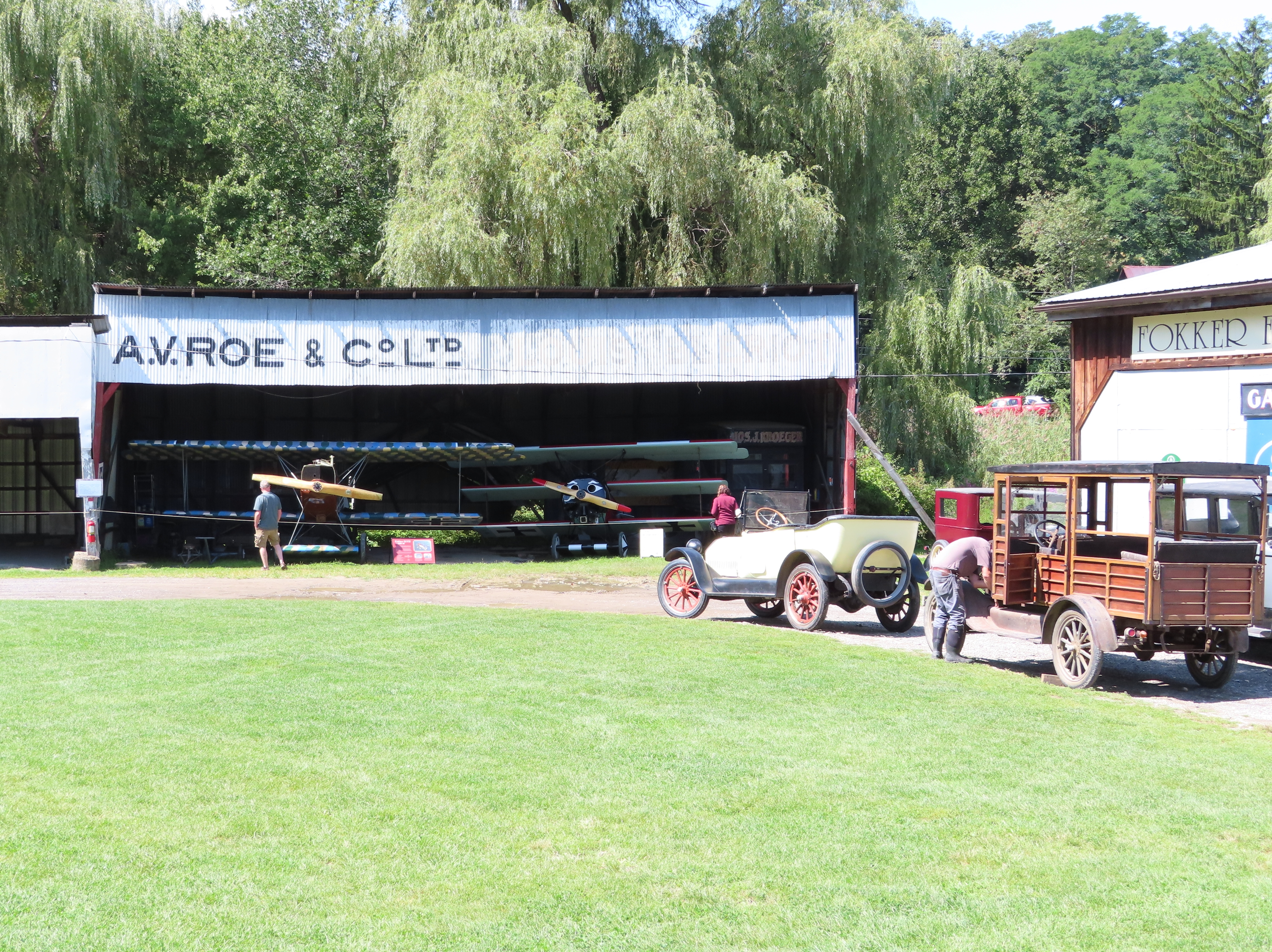 Hangar and Antique Cars at Old Rhinebeck Aerodrome