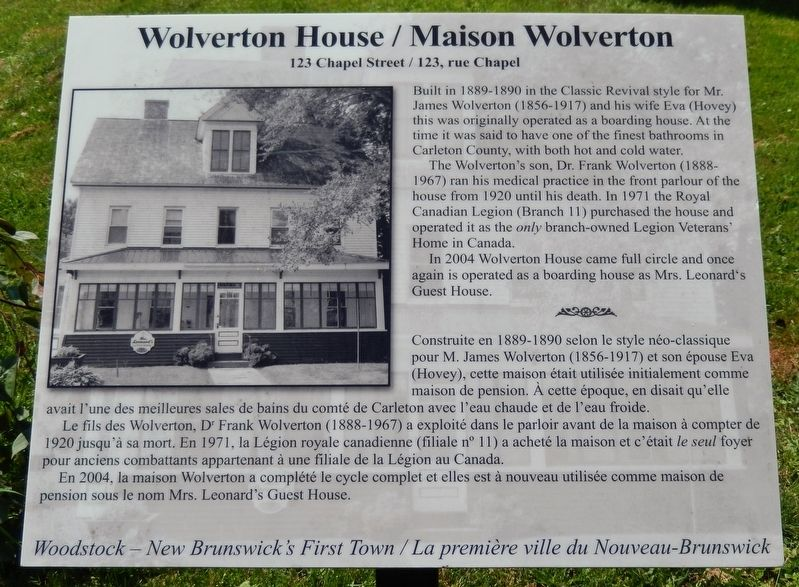 Wolverton House / Maison Wolverton Marker image. Click for full size.