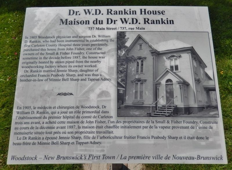 Dr. W.D. Rankin House / Maison du Dr. W.D. Rankin Marker image. Click for full size.