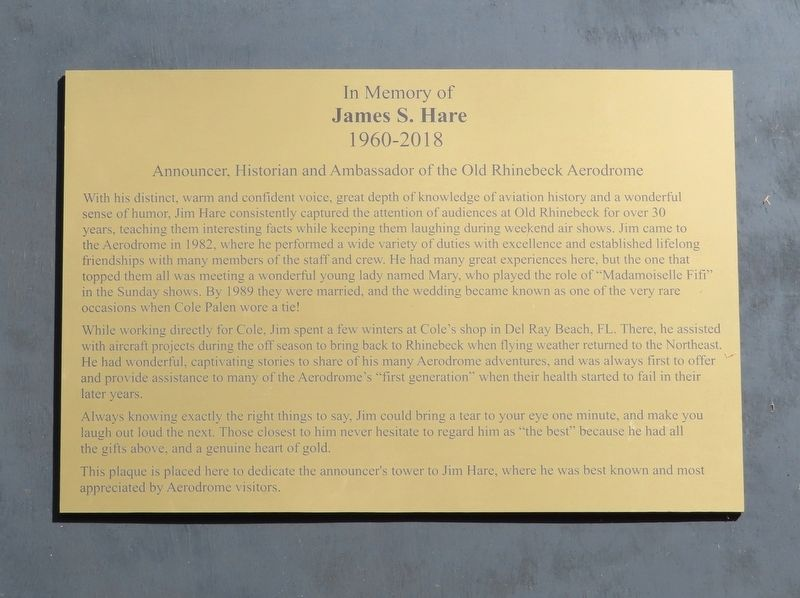 James S. Hare Marker image. Click for full size.