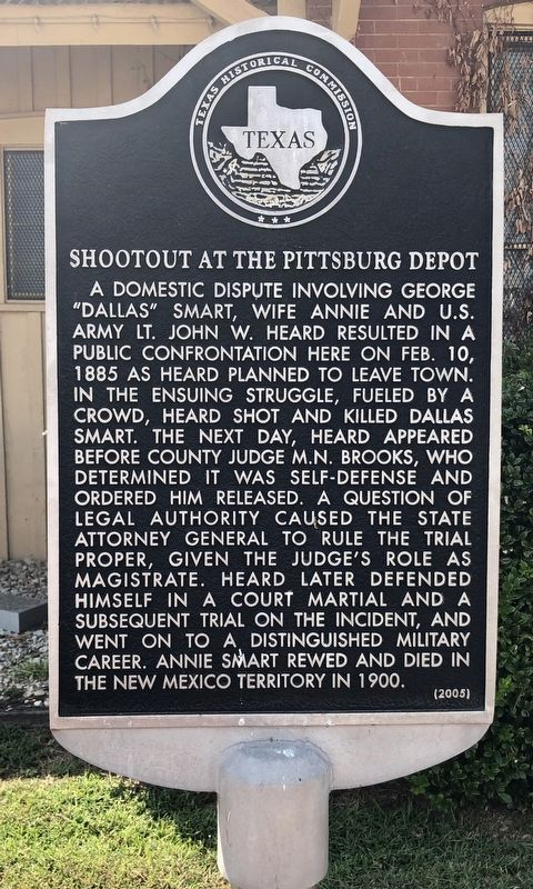 Shootout at the Pittsburg Depot Marker image. Click for full size.