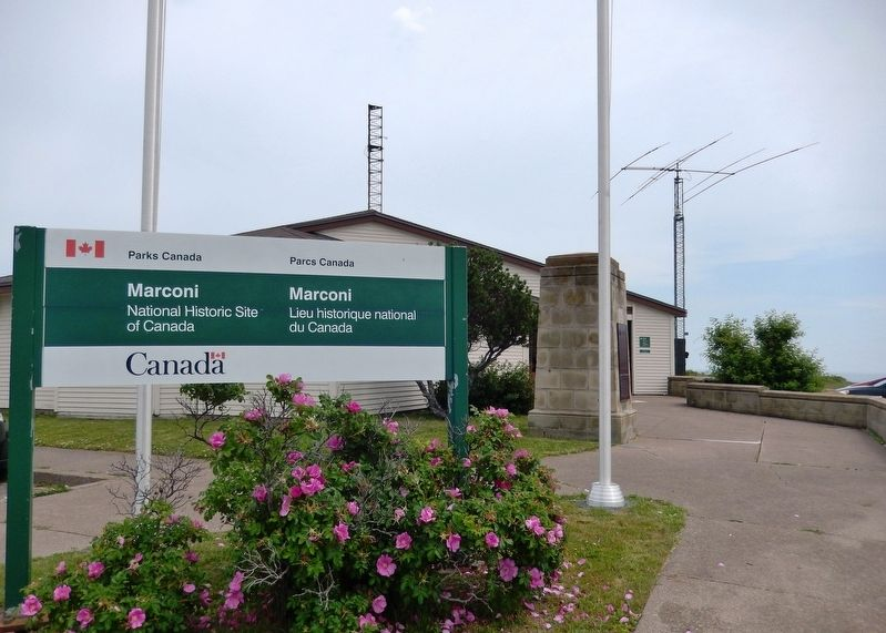 Marconi National Historic Site<br>(<i>monument visible behind sign</i>) image. Click for full size.