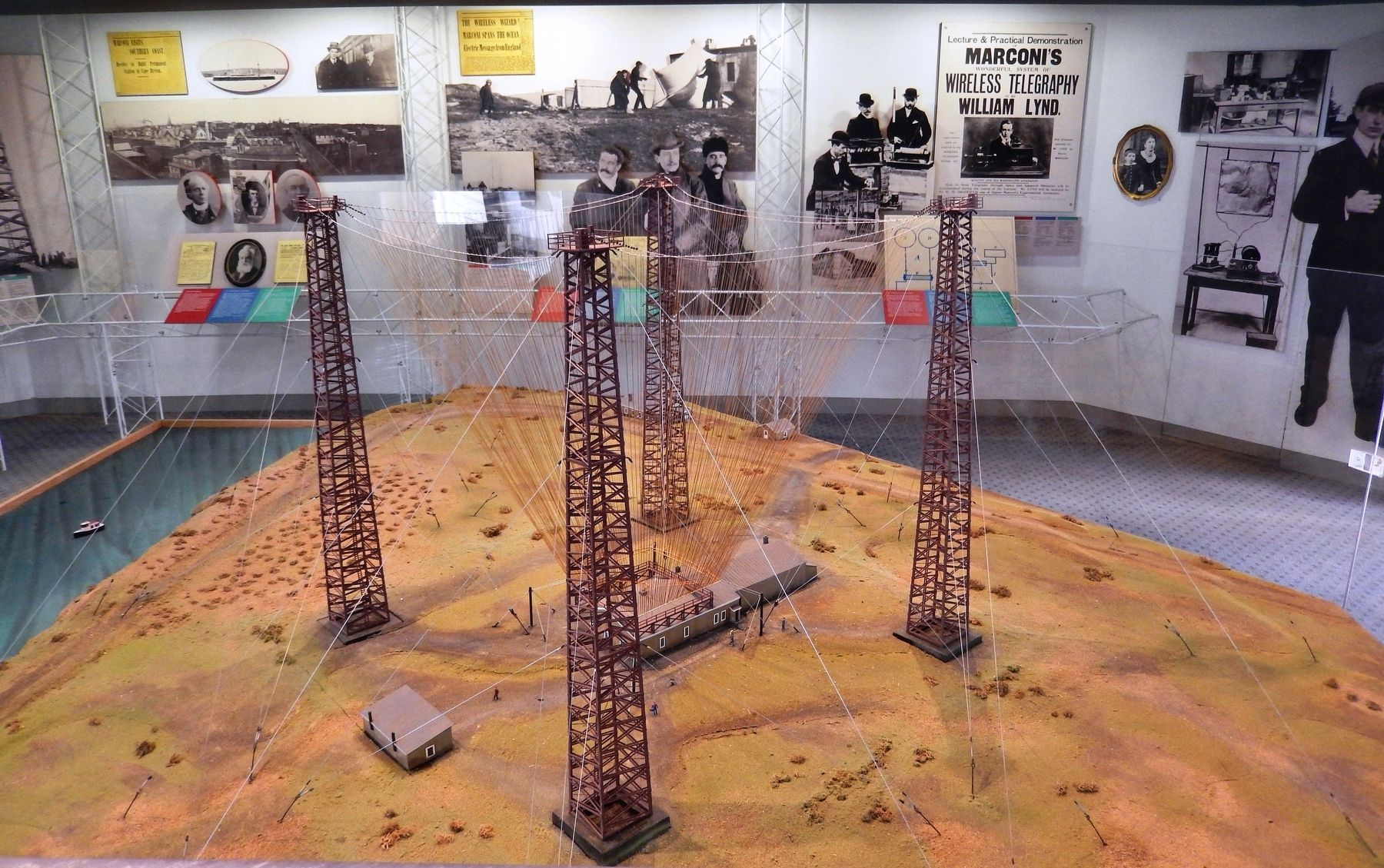 Visitor Center model of Marconi's transmission towers at first wireless station here in Glace Bay image. Click for full size.