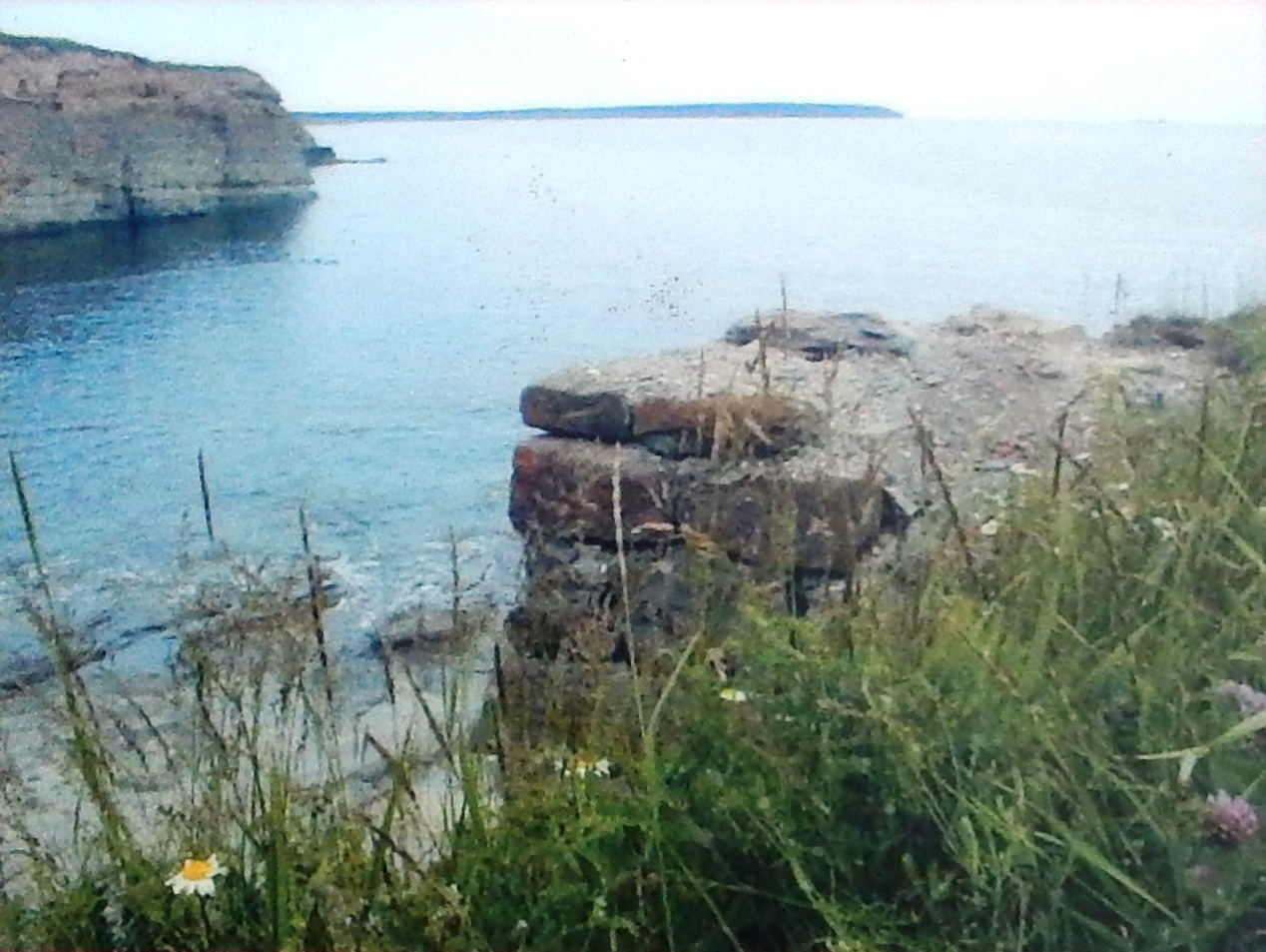 Marker detail: Remnants of the Blockhouse Wharf overlooking the Atlantic, 2004
