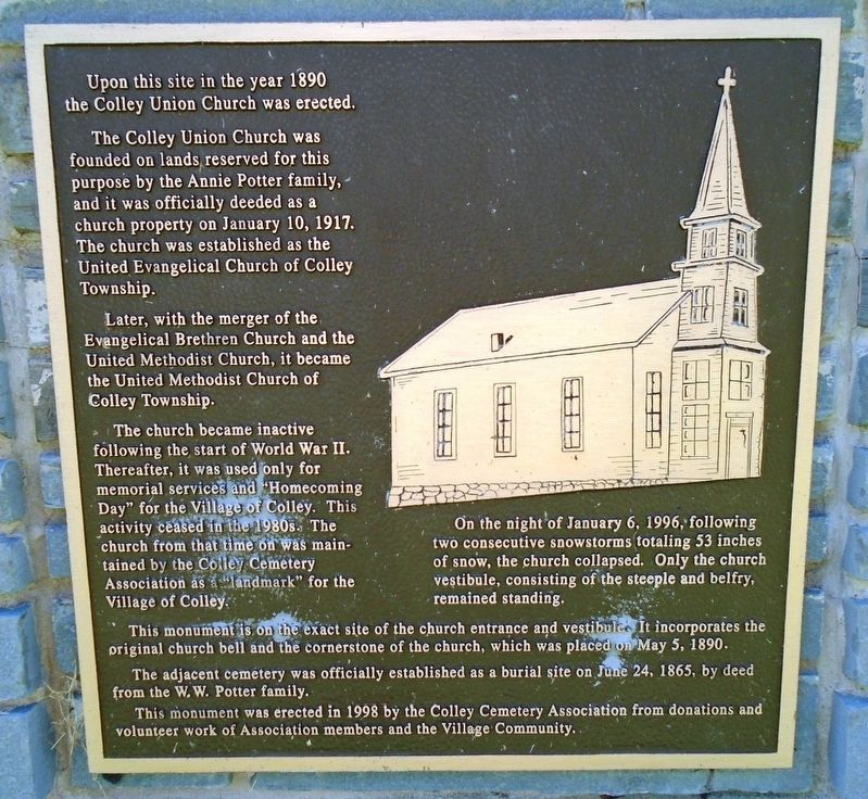 Colley Union Church Marker image. Click for full size.