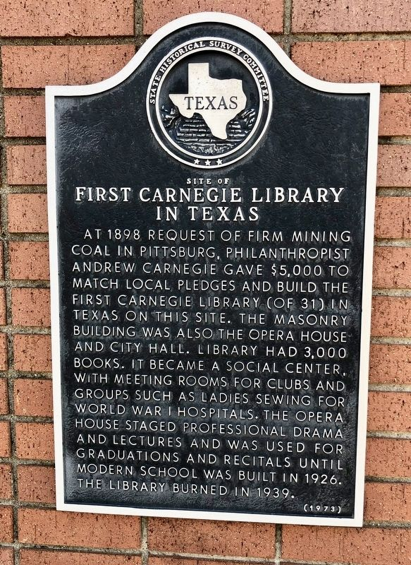 First Carnegie Library in Texas Marker image. Click for full size.