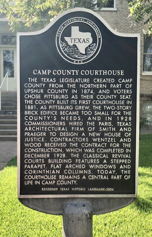 Camp County Courthouse Marker image. Click for full size.