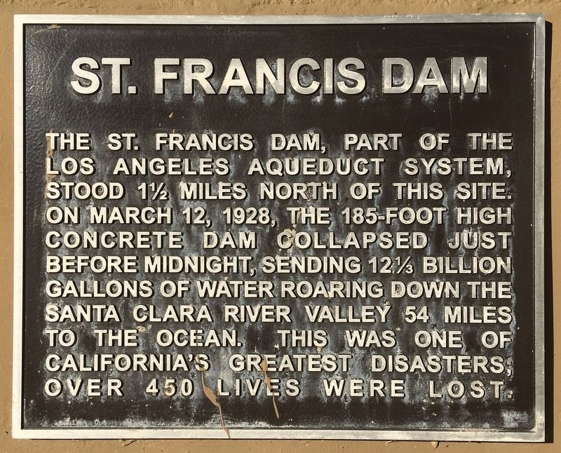 St. Francis Dam Marker image. Click for full size.