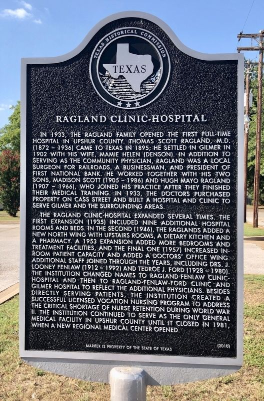 Ragland Clinic-Hospital Marker image. Click for full size.