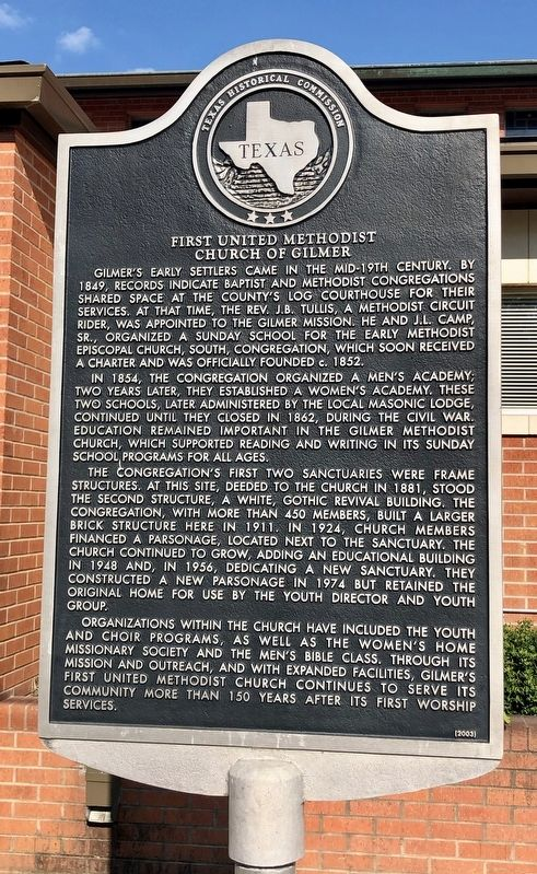 First United Methodist Church of Gilmer Marker image. Click for full size.