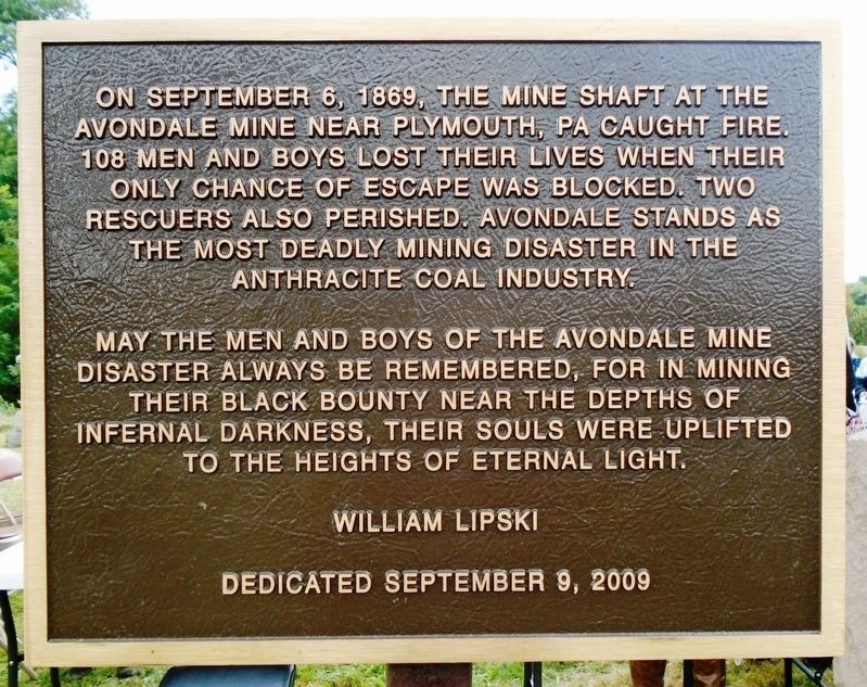 Avondale Mine Disaster Victims Marker image. Click for full size.