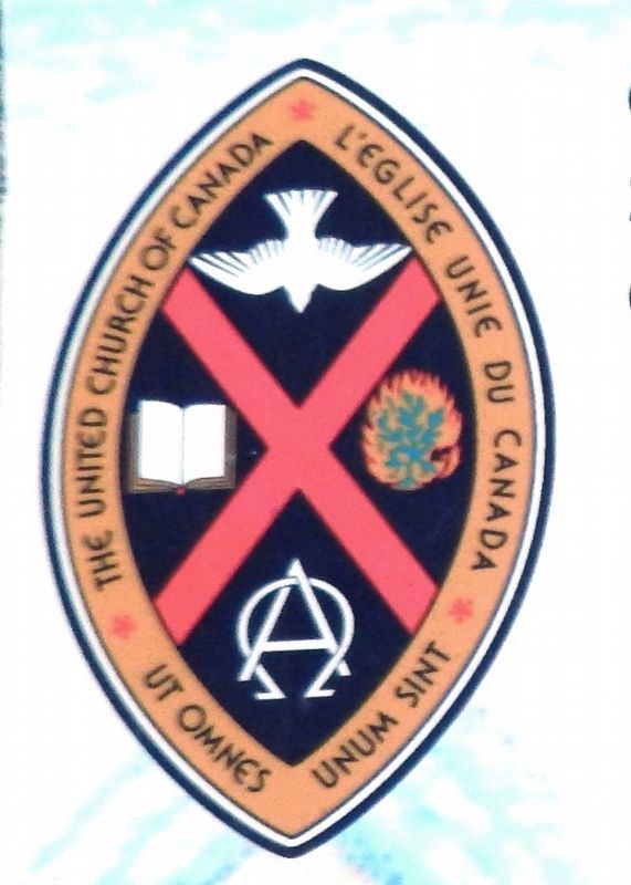 Marker detail: The United Church Crest image. Click for full size.