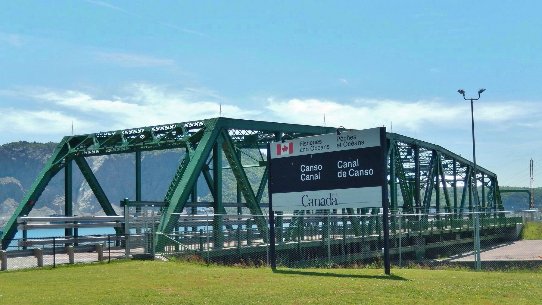 Canso Causeway Swing Bridge (<i>view from near marker</i>) image. Click for full size.