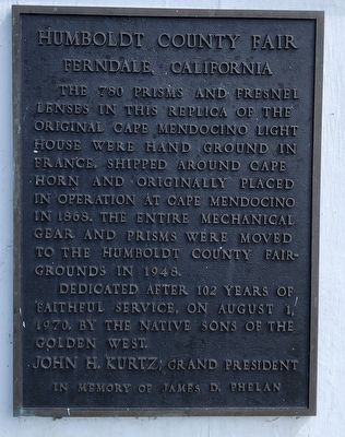 Cape Mendocino Lighthouse Lenses Marker image. Click for full size.