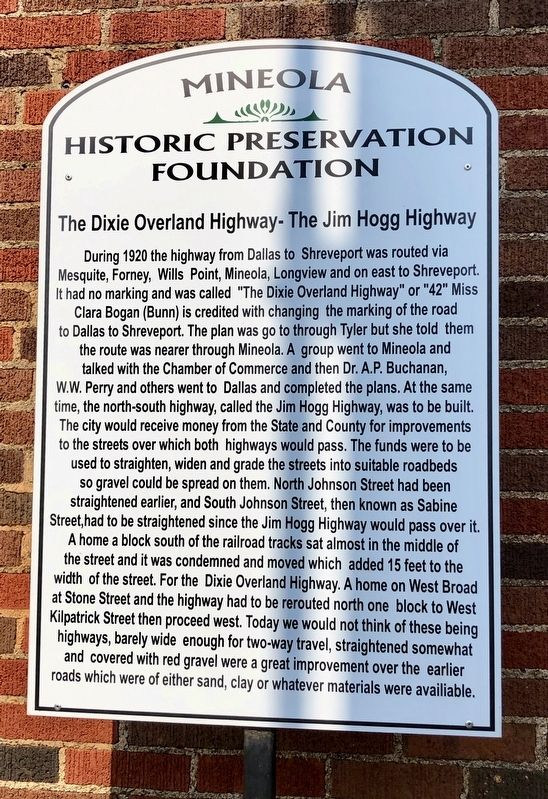 The Dixie Overland Highway - The Jim Hogg Highway Marker image. Click for full size.