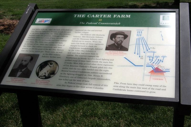 The Carter Farm - The Federal Counterattack Marker image. Click for full size.