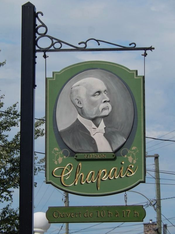 Maison Chapais sign<br>(<i>view from near marker</i>) image. Click for full size.