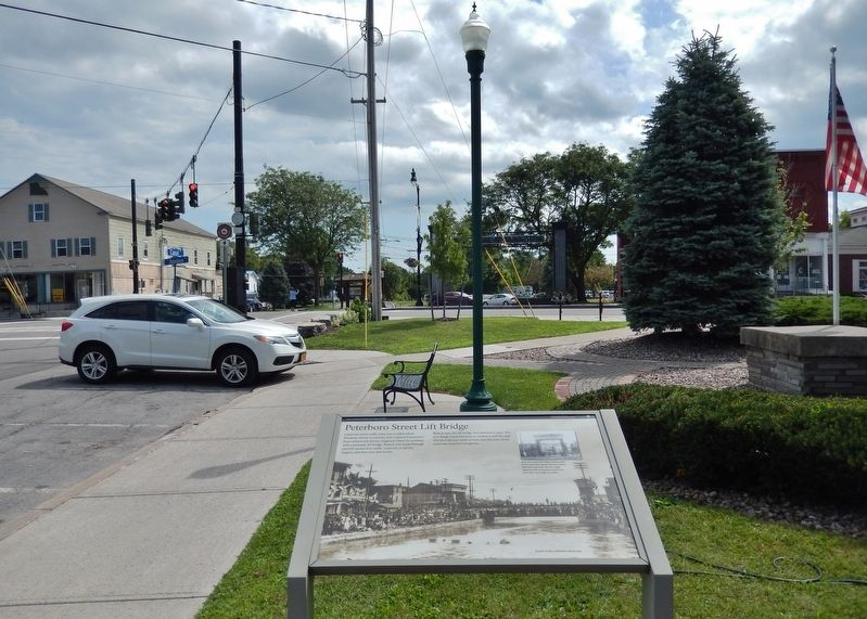 Peterboro Street Lift Bridge Marker<br>(<i>wide view looking east to Peterboro Street</i>) image. Click for full size.