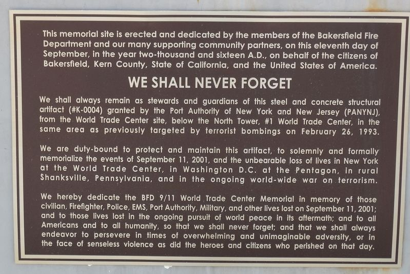 We Shall Never Forget Marker image. Click for full size.