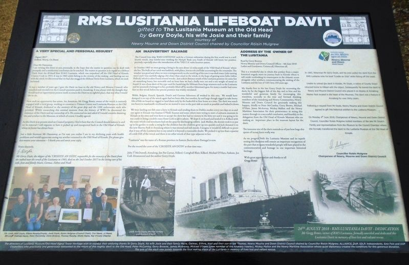 RMS Lusitania Lifeboat Davit Marker image. Click for full size.