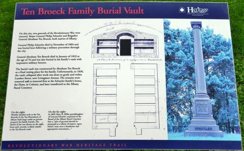Ten Broeck Family Burial Vault Marker image. Click for full size.