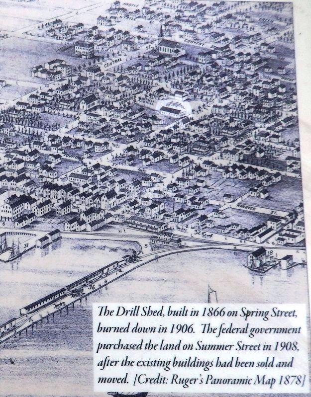 Marker detail: Summerside Drill Shed image. Click for full size.