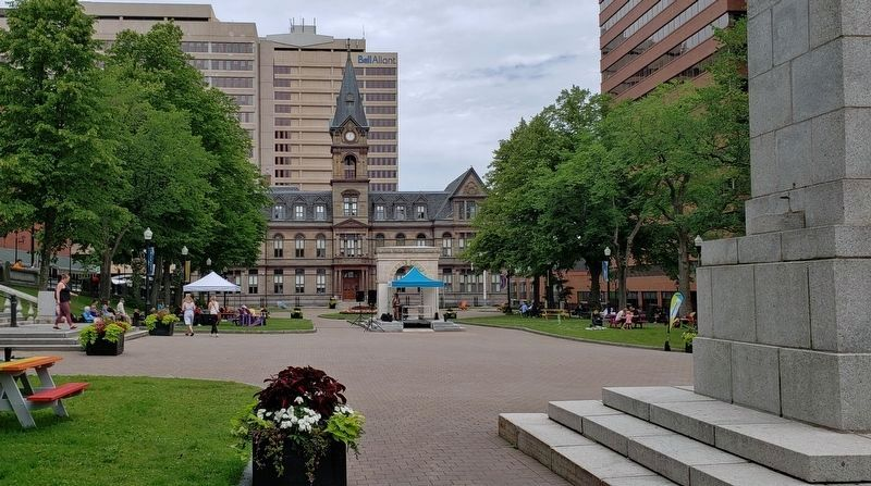 The Grand Parade • <i>wide view<br>(looking north from the Halifax War Memorial)</i> image. Click for full size.