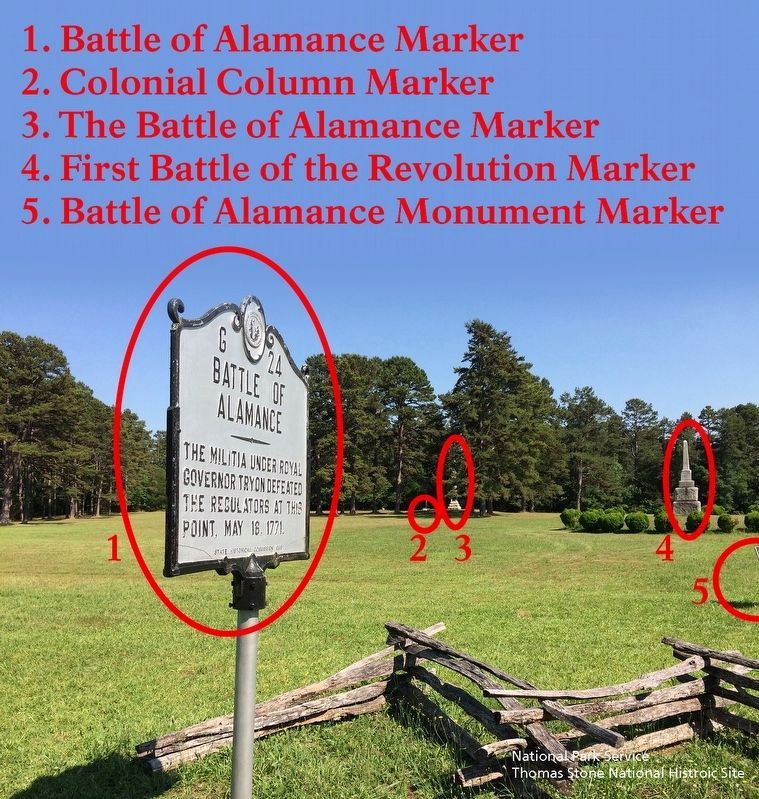 Five of the markers and monuments in the immediate area. image. Click for full size.