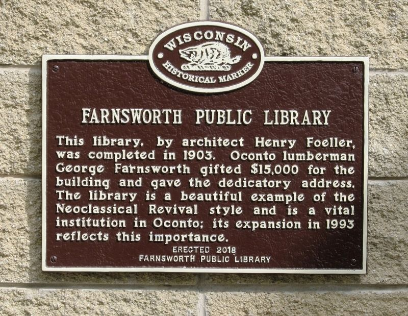 Farnsworth Public Library Marker image. Click for full size.