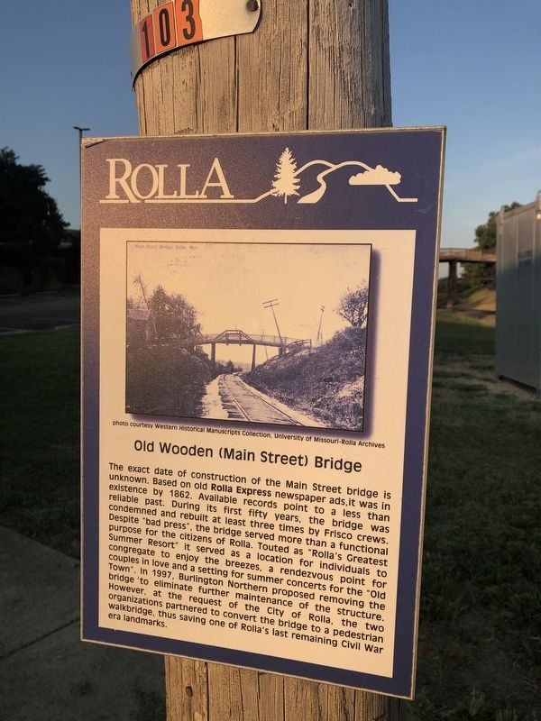 Old Wooden (Main Street) Bridge Marker image. Click for full size.