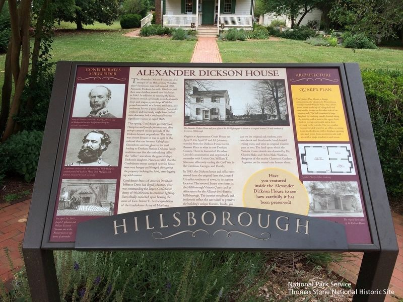 Alexander Dickson House Marker & the house exterior. image. Click for full size.
