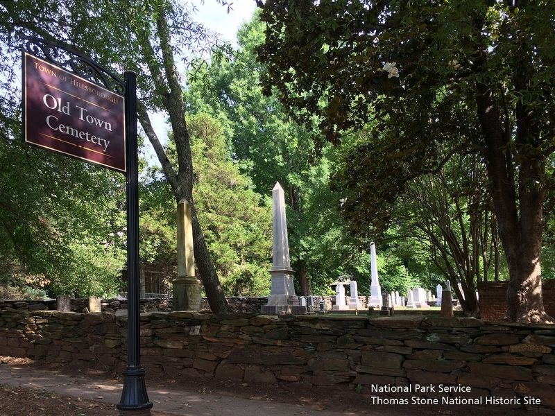 Old Town Cemetery sign along West Tryon Street. image. Click for full size.