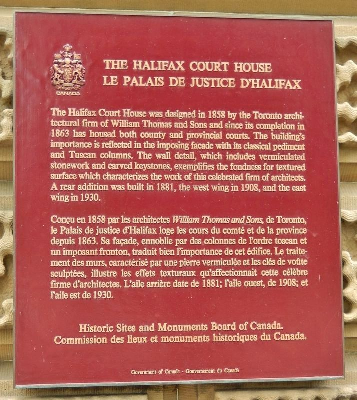The Halifax Court House /<br>Le Palais de Justice D'Halifax Marker image. Click for full size.