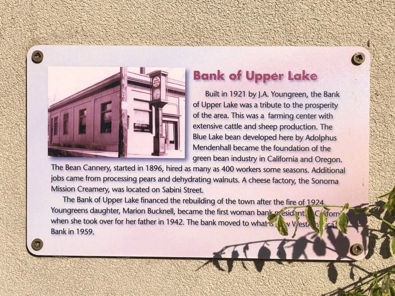 Bank of Upper Lake Marker image. Click for full size.