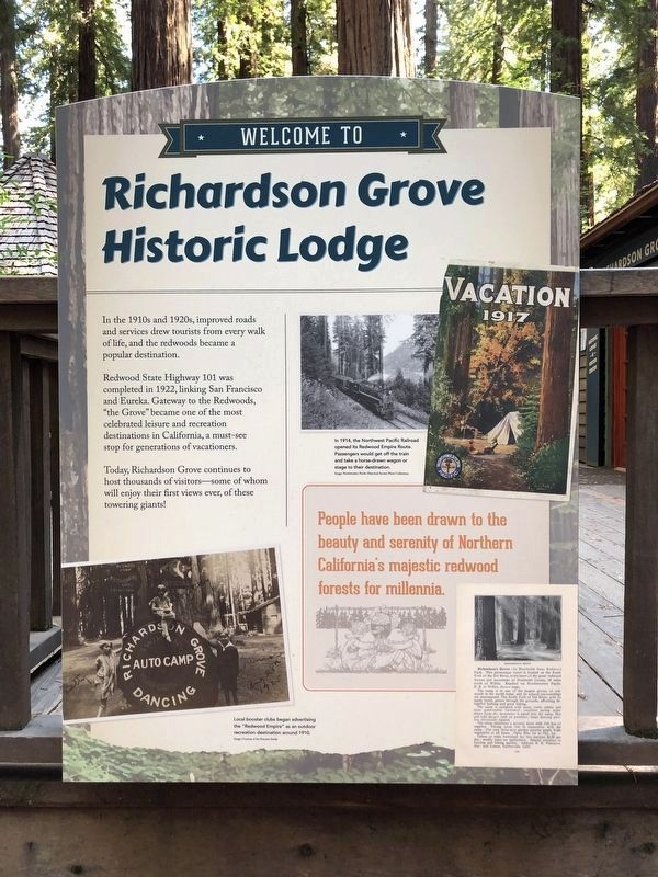 Richardson Grove Historic Lodge Marker image. Click for full size.