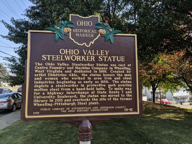 Ohio Valley Steelworker Statue Marker image. Click for full size.