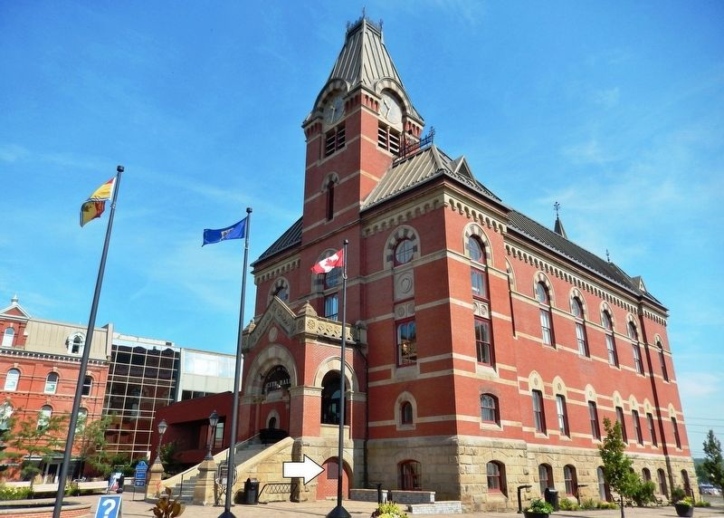 Fredericton City Hall<br>(<i>southeast corner view • marker visible beneath staircase</i>) image. Click for full size.