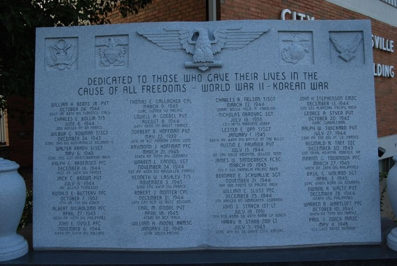 Louisville World War II / Korean War Memorial image. Click for full size.