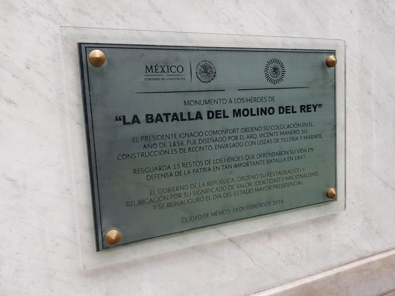 Molino de Rey War Memorial 2014 redication tablet image. Click for full size.