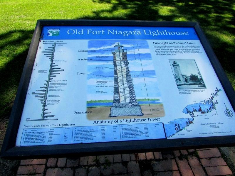 Old Fort Niagara Lighthouse Marker (Restored) image. Click for full size.
