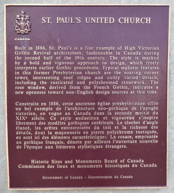 St. Paul's United Church Marker image. Click for full size.